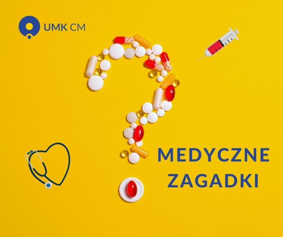 Slider konkursu medyczne zagadki. znak zapytania z tabletek i logo CM UMK